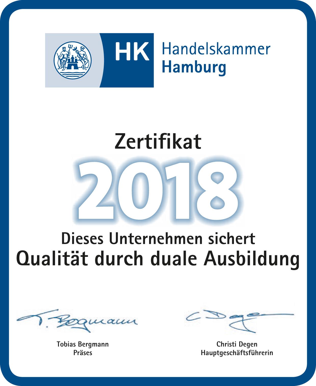 Zertifikat der Handelskammer: Ausbildung mit Qualität und ...